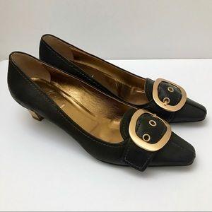 NEW Prada brown gold buckle heels